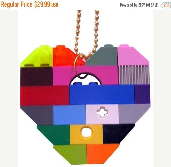 SWAG Hip Hop colorful necklace - Chunky heart pendant - made from LEGO (R)…
