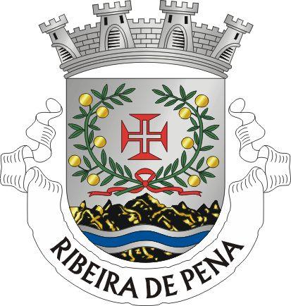 """Civic heraldry of Portugal - Brasões dos municípios Portugueses -Escudo de prata, com uma cruz da Ordem de Cristo de vermelho, aberta do campo, acompanhada de dois ramos de laranjas de ouro, sustidos e folhados de verde e atados de vermelho, em ponta. No contra-chefe uma faixa ondada de azul. Coroa mural de prata de quatro torres. Listel branco com os dizeres : """" RIBEIRA DE PENA """", de negro. Origin/meaning  The arms were officially granted on June 13, 1951."""