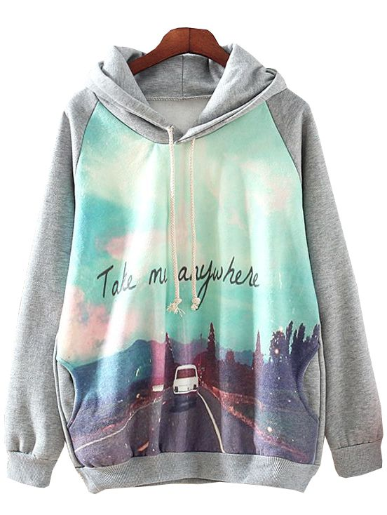 Grey Hooded Long Sleeve Car Print Sweatshirt
