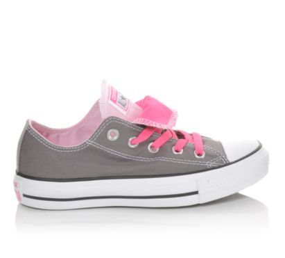 Women's Converse Chuck Taylor Seasonal Double Tongue Grey/Pink | Shoe Carnival #ShoeCarnival