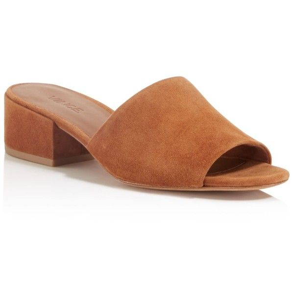 Vince Rachelle Low Heel Mule Sandals (19.100 RUB) ❤ liked on Polyvore featuring shoes, sandals, cedar, low heel sandals, mule shoes, suede mule shoes, block heel sandals and suede shoes