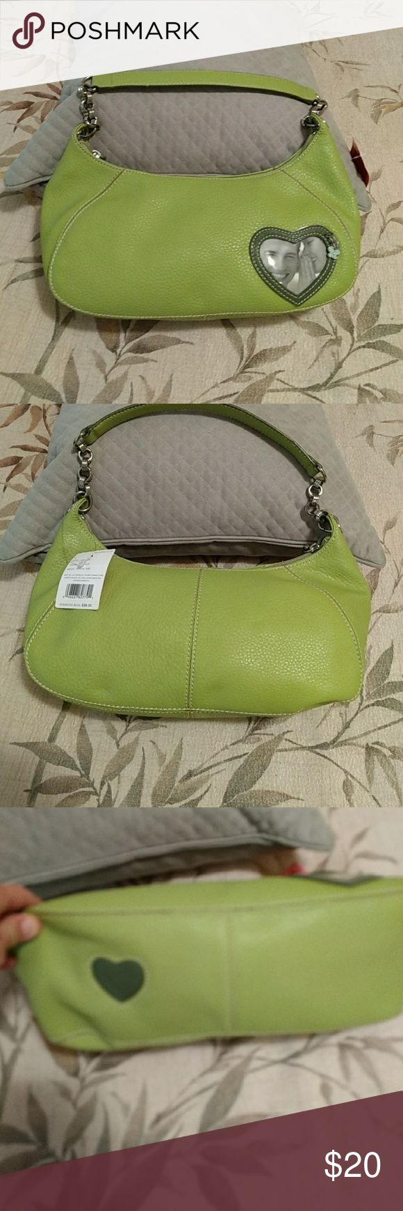 "NWT Liz Claiborne green purse NEW Liz Claiborne green ""Picture This"" purse. Has a heart shaped photo holder on the front with a charm. Super cute!   Measurements are 12"" lengthwise on base and 6"" in height (see new pics). Thanks for looking! Liz Claiborne Bags Shoulder Bags"