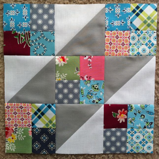 Jacob's Ladder Block  Here are the stats for this quilt:  320 (2.5inch) squares 64 half-square triangles 80 four-patch units 16 blocks 1 quilt