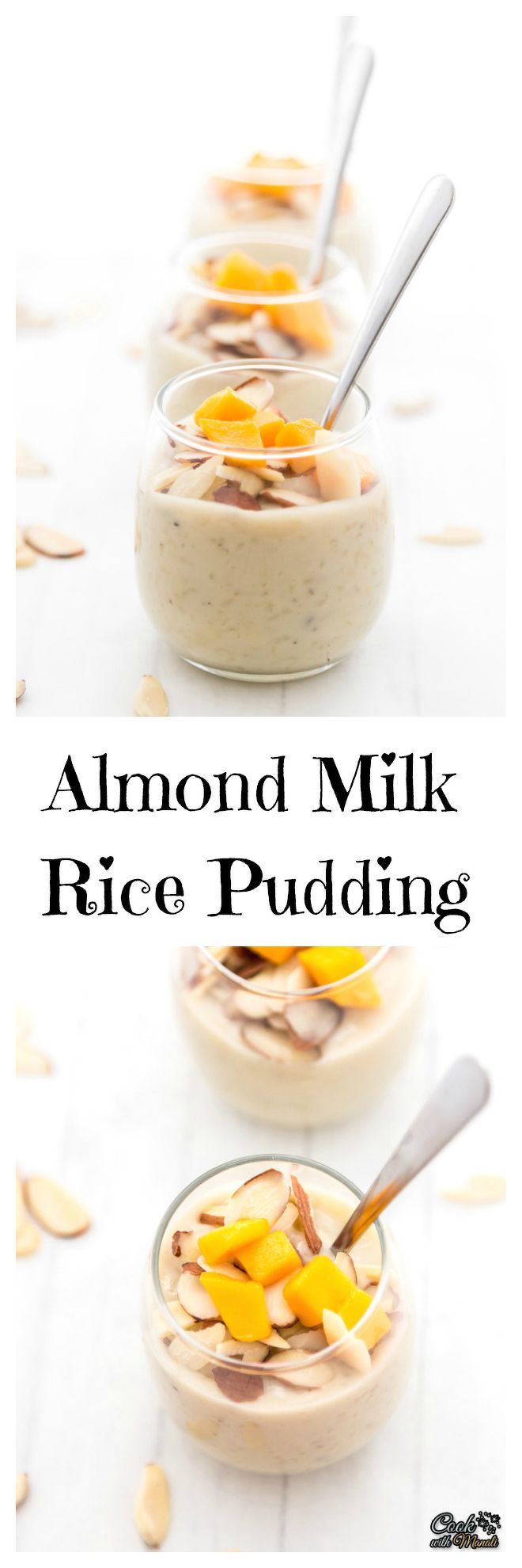 Almond Milk Rice Pudding flavored with cardamom, saffron & topped with nuts!