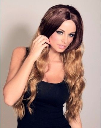 Wonderland Wigs - Giselle brown and blonde dip dye ombre wig. This luxurious long ombre wig was created exclusively for Wonderland Wigs, with inspiration taken from Stacey Solomon's stunning long wavy dip dye style hair. The wig is dark brown at the crown, and is thicker at the top with a layered choppy look, the under hair is long and wavy and is a golden blonde shade. #dipdyehair staceysoloman
