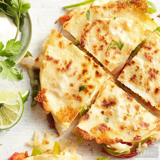 Fajita-Style Quesadillas- cheesy quesadillas filled with good-for-you veggies, cilantro and lime. YUM