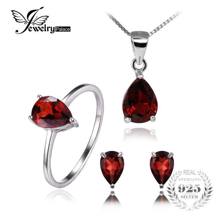 Fine Jewelry Womens 3-pc. Red Garnet Sterling Silver Jewelry Set TgXjNn