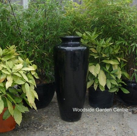 Extra Large Glazed Black Tall Jar | Woodside Garden Centre | Pots To Inspire