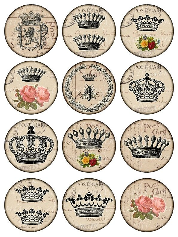 crowns Vintage Printable Tags Digital Collage Sheet por 300dpi