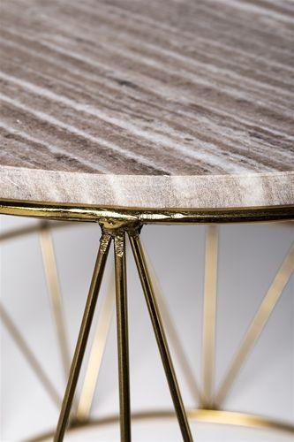 Soffbord runt guld / beige marmor - Bloomingville - Reforma Sthlm