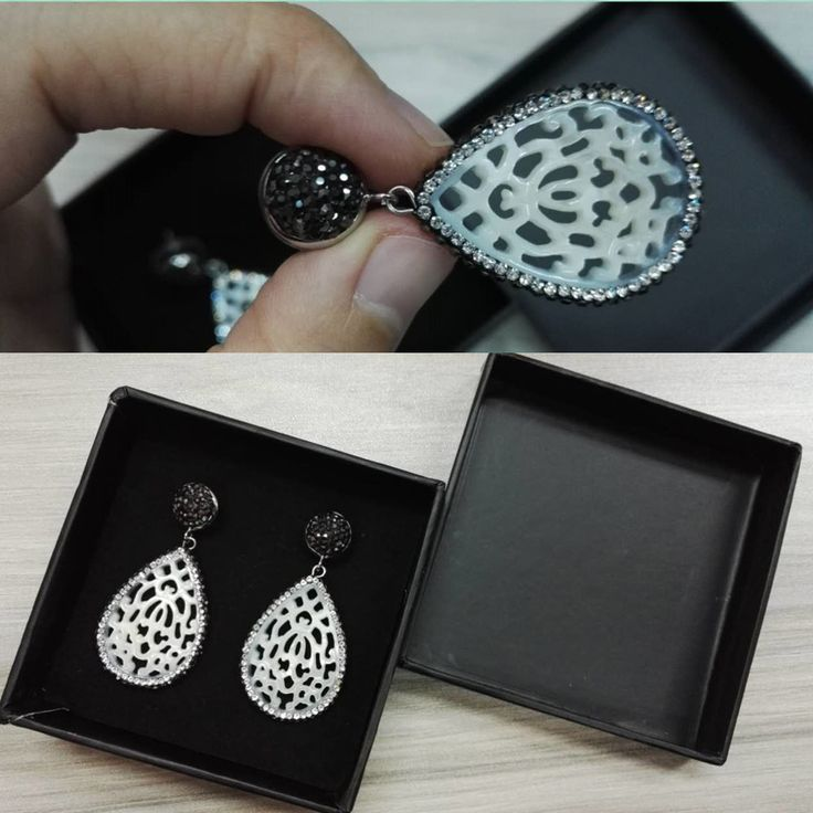 new coming natural white water drop caving hollow pattern shell pave shine black rhinestone beads stud dangle earring for women $12.7