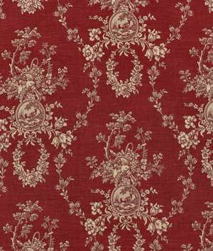 Waverly Country House Toile Red Fabric | onlinefabricstore.net ~think this would look great with red striped grain sacks in my kitchen