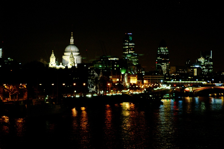 The view from Waterloo Bridge at night. Makes me fall in love with London every time I see it as I cross the bridge.