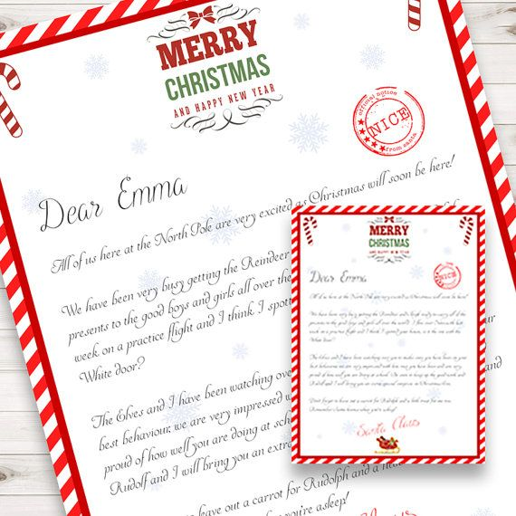 Letter from Santa  Personalised  Christmas  by PrintThatBabyShower  Make Family Christmas traditions with a Personalised Downloadable and Printable Letter from Santa addressed to you Childs name.