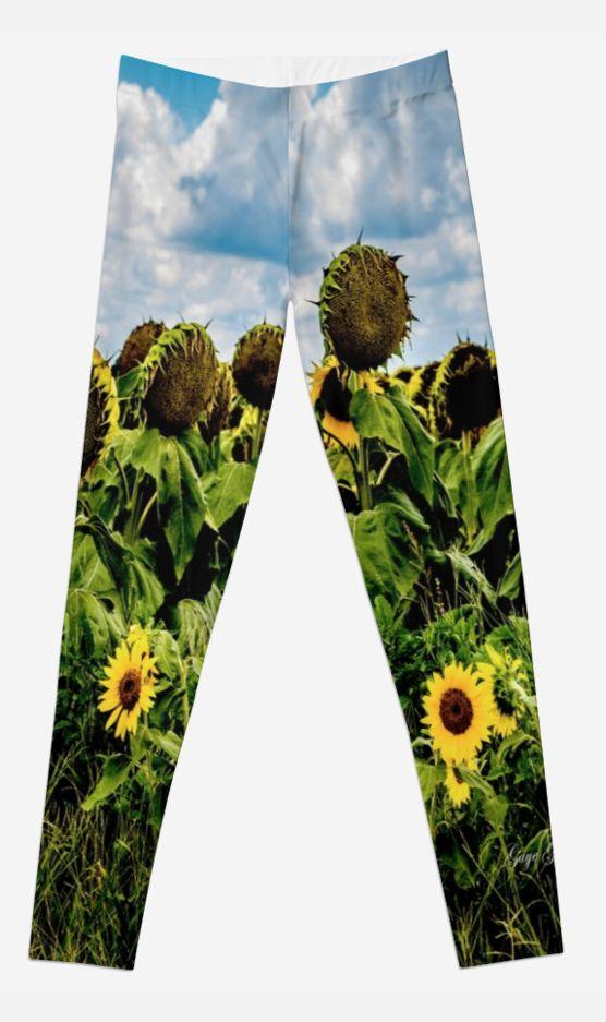 Sunflower leggings by Gaye G Australia+Queensland+sunflower+leggings+clothing+female+women+woman+girls+green+blue+pattern+yellow+white+winter+summer+fall+autumn+spring+redbubble+Gaye G Size XXS to XL