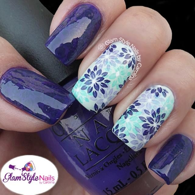 Purple, lavender & mint floral nail art stamping accent nails