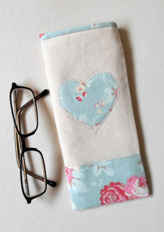 Glasses Case Natural EcoCotton with Floral by HandmadeByEvaRose,