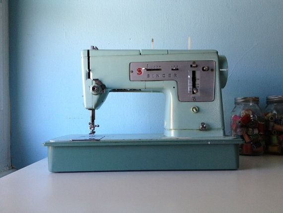 1960s Singer Sewing Machine Robins Egg Blue By