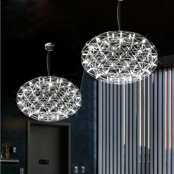 Hot Sell Stainless Steel LED Pendant Lights Lamps  Firework Flat Ball Shape Living Room Loft Lights Shops Lights110-240V