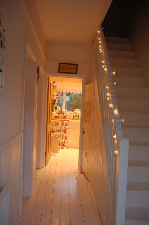 Gorgeous fairy light staircase | from www.posy.typepad.com