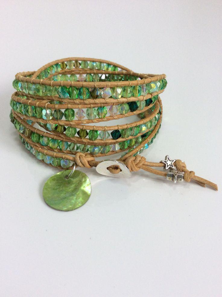 Czech crystal in green