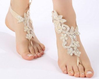 Free Ship ivory flexible sandals laceBarefoot by ByMiracleBridal