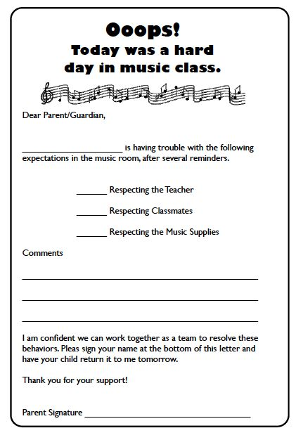 Teacher Letters To Parents About Behavior letter to parent template