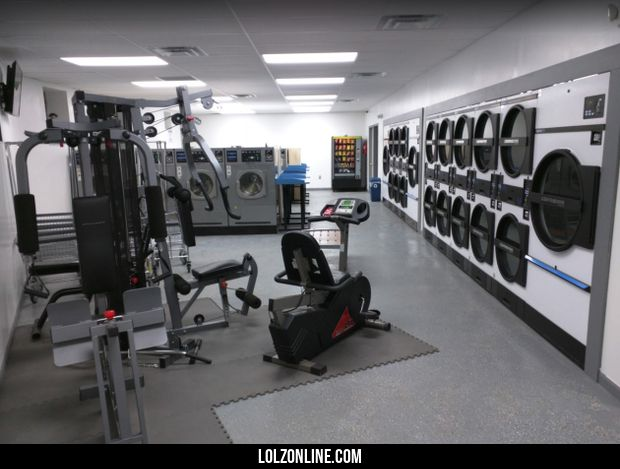 My local laundromat has gym equipment to use as you are waiting for your load to finish#funny #lol #lolzonline