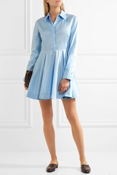 Stella McCartney - Leile Fluted Cotton-twill Mini Dress - Sky blue - IT48
