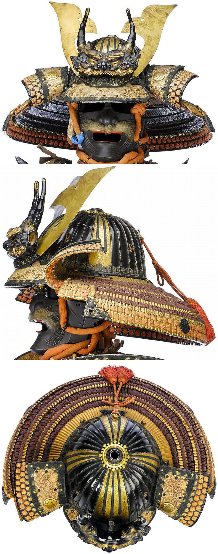 """The Villain's guards are ethereal  Samurai warriors.  Their armor is elaborate and they are masterful with their swords.  24 ken suji bachi kabuto signed """"Masanobu"""", 18th c, lacquered black and finished in katajiro style with four gilt metal plates radiating out from the three-stage shakudo,"""