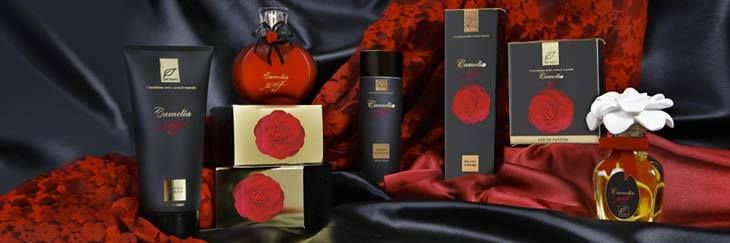 """Dr. Taffi presents the new, intense """"Camelia Rouge"""" line. Absinthe, roses and perfect flower, vanilla, white musk and soft wood. That's what you will find in this new, sophisticated fragrance."""