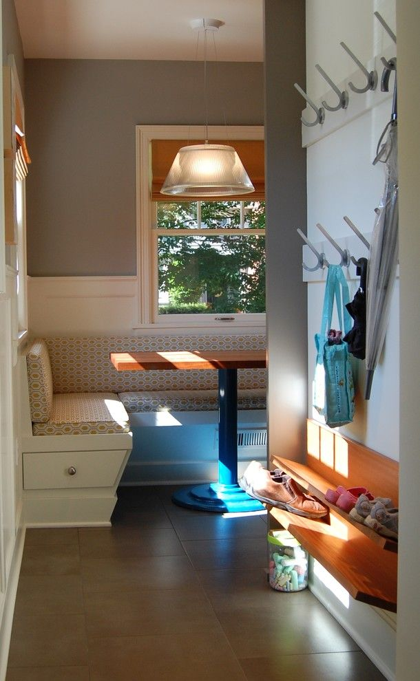 Coat Hooks Wall Mounted Entry Transitional with Apron Sink Banquette Seating Dark Stained Wood