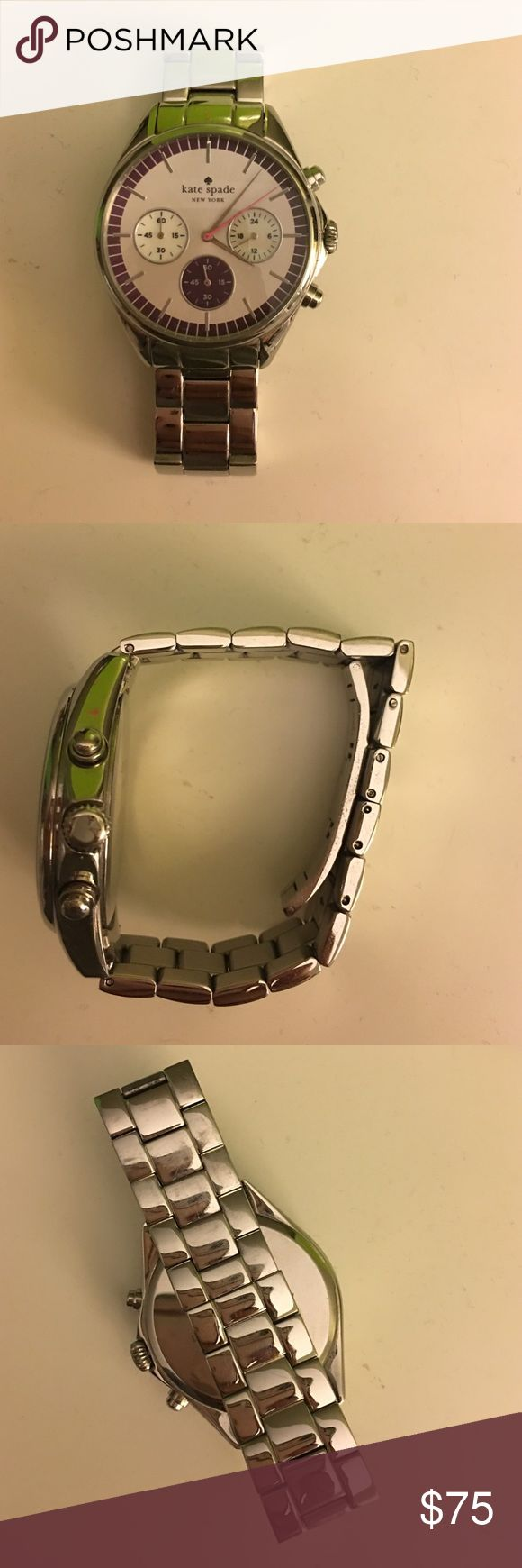 Silver Kate spade watch Excellent condition silver Kate spade watch with dark purple details. Links have been removed but the original box, Manuel, and extra links are included. Battery still works! kate spade Accessories Watches