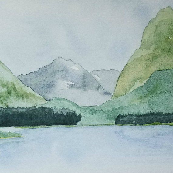 Glacier National Park Mountain Watercolor Print Montana Landscape