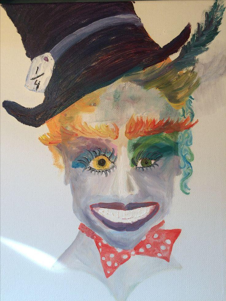 Portrait. Mad hatter. Oil paint
