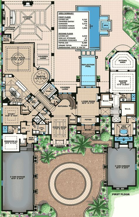 <ul><li>This stunningly beautiful Mediterranean house plan is loaded with every imaginable luxury including a residential elevator, a gorgeous curved staircase, a wine cellar and special ceiling treatments in every room of the house.</li><li>Sightlines are amazing as your views sweep through room after room.</li><li>The opulent master suite takes up the whole right wing of the home and is designed to pamper homeowners in a grand way including his ...