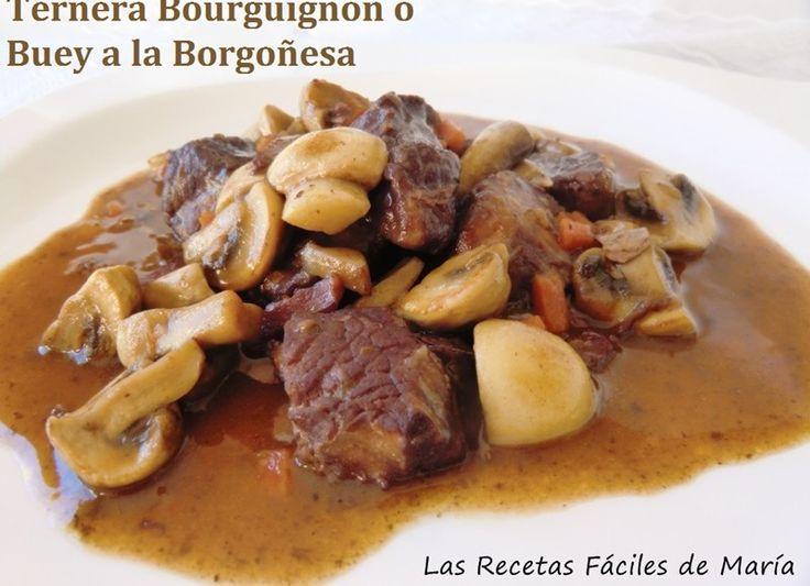 Ternera Bourguignon o buey a la Borgoñoñena