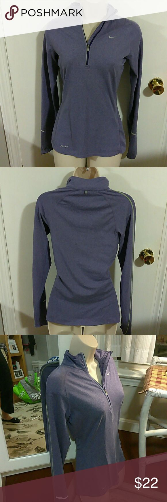 Nike Dri- Fit Xs Purple Athletic Top Nike Dri-Fit Xs Purple Pull Over Fitted Athletic Top Long Sleeve with 1/4 Zipper. In Excellent Condition and From a smoke free home!! Nike Tops Sweatshirts & Hoodies