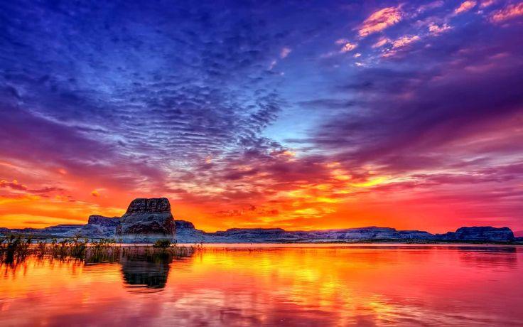 1440x900 sunset lake desktop - photo #34
