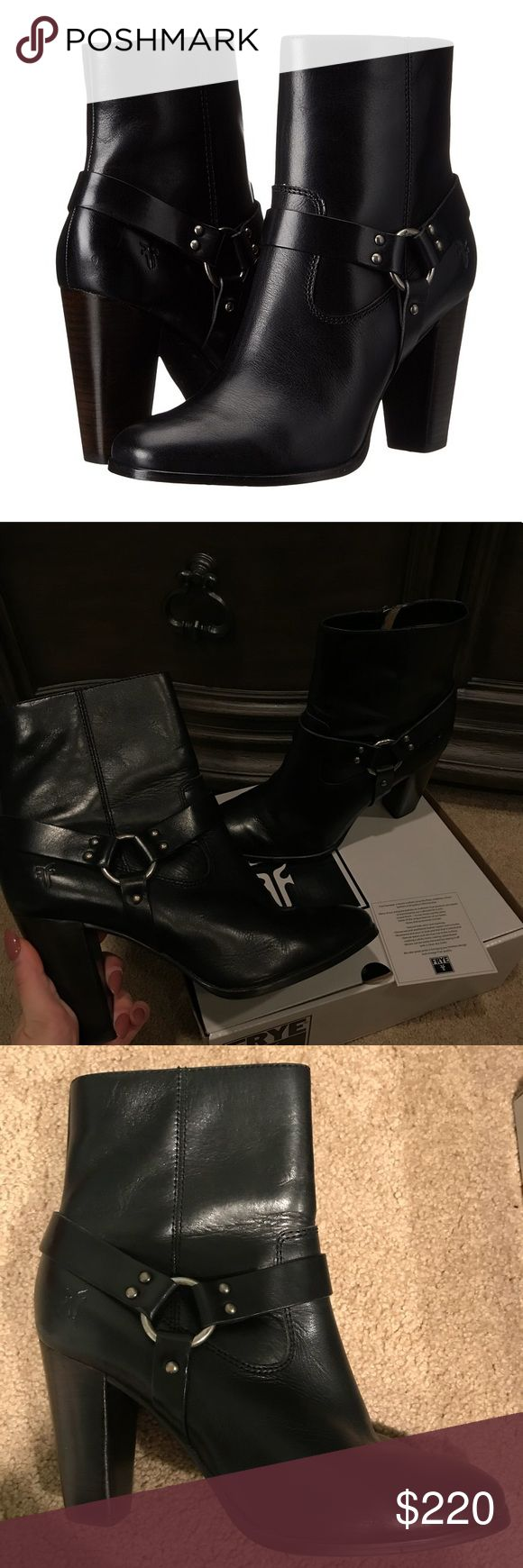 Frye Laurie Harness Boots Black Frye Laurie Harness short boots. Only worn a few times. Great condition. Frye Shoes Ankle Boots & Booties