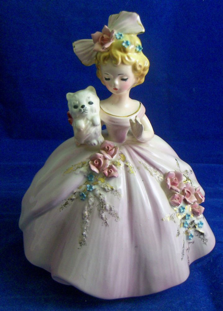 Vintage JOSEF ORIGINALS FIGURINE 6 1/2 INCH PINK GIRL BLONDE ROSES CAT