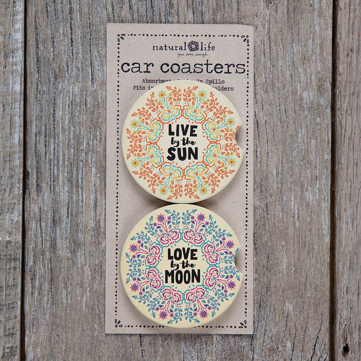 Car Coaster Sets of 2 - What's better than one super cute, absorbent car coaster? A set of two, of course! Colorful design will make your car's center console happy!