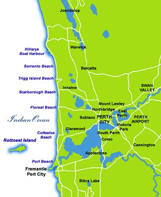 Perth beach map
