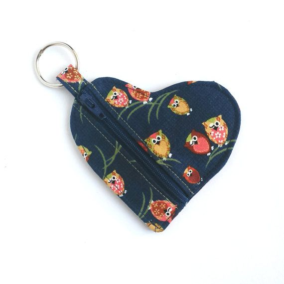 Owl Heart Shape Pouch Navy Blue Lipstick Holder by OneBusySloth