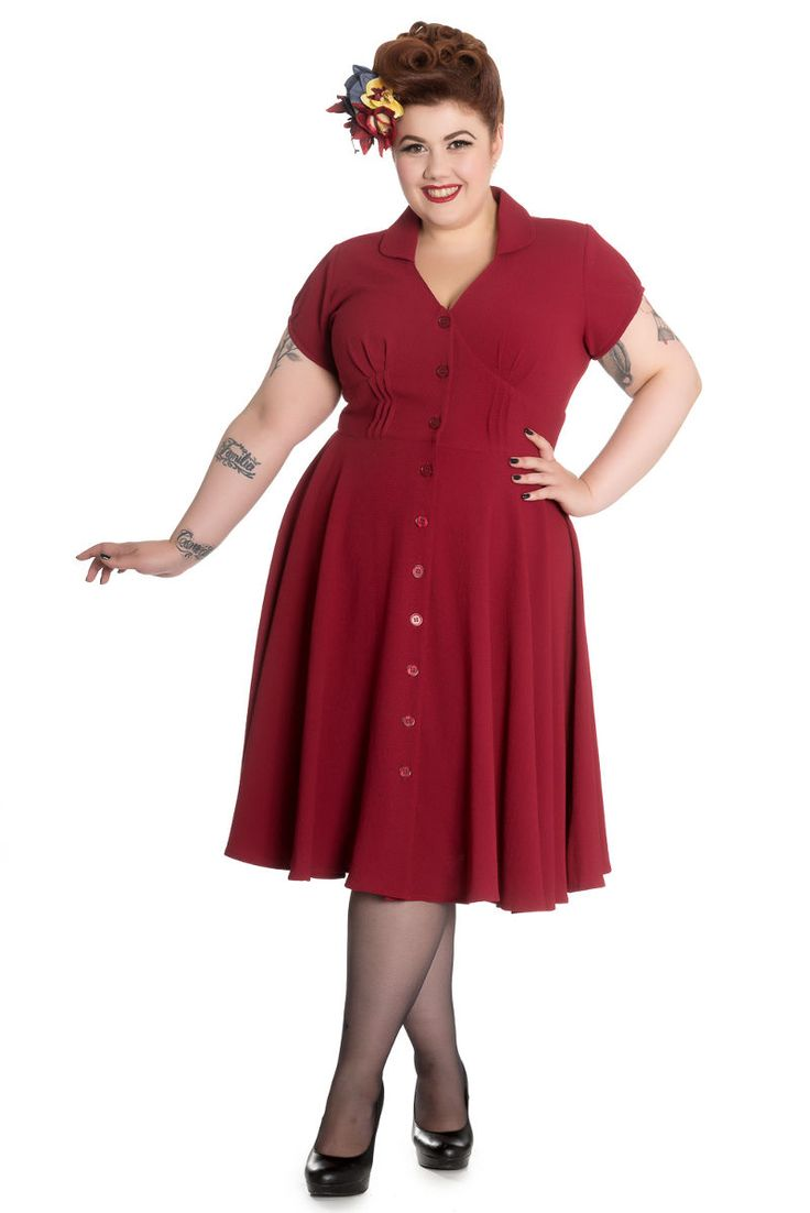 Plus Size Vintage Keely Dress - Red