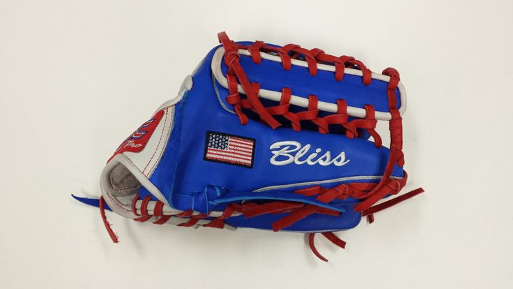 Custom Softball/ Baseball Glove  2P6 WEB Design white wrist, royal blue glove with red laces and a USA flag #custombaseballglove #customsoftballglove #redwhiteandblue #usaflag