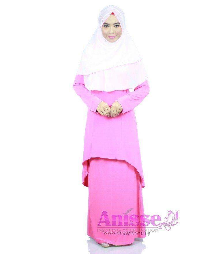 ALEYKA - HOT PINK | Aleyka Dress Baju Kurung - 2 pieces wear |