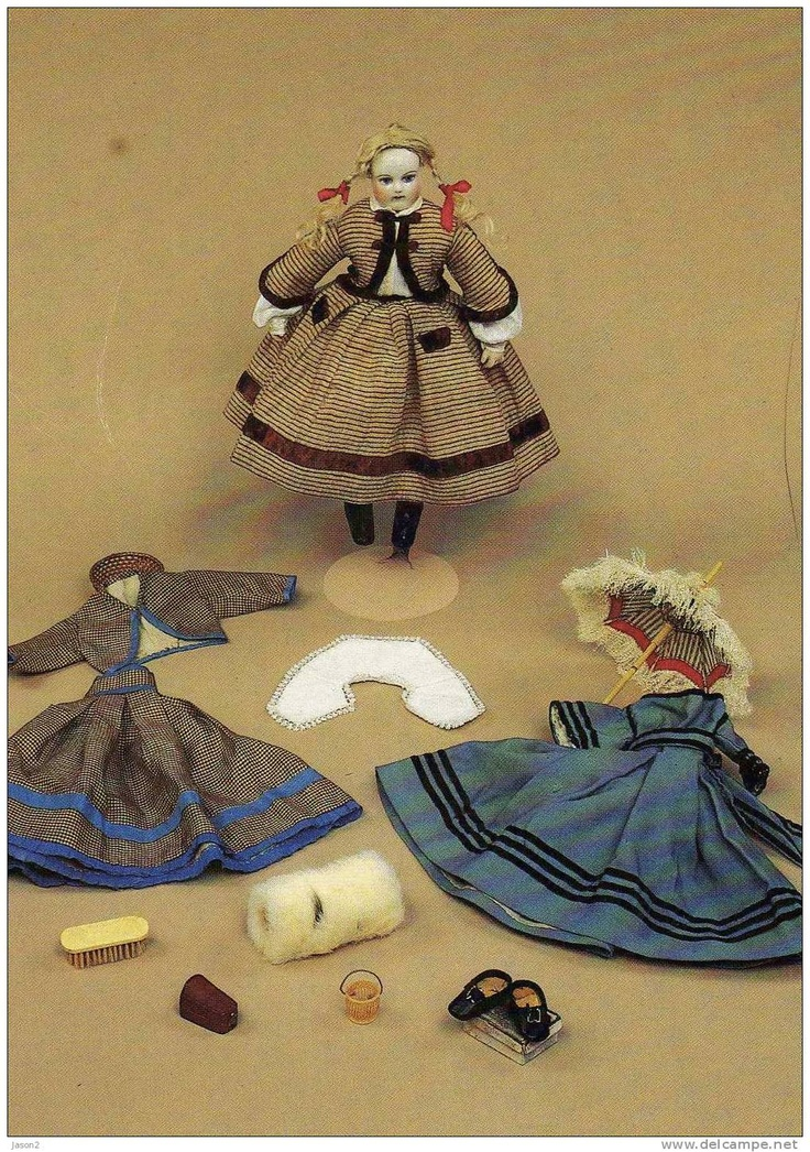 Doll with 3 dresses, 1860