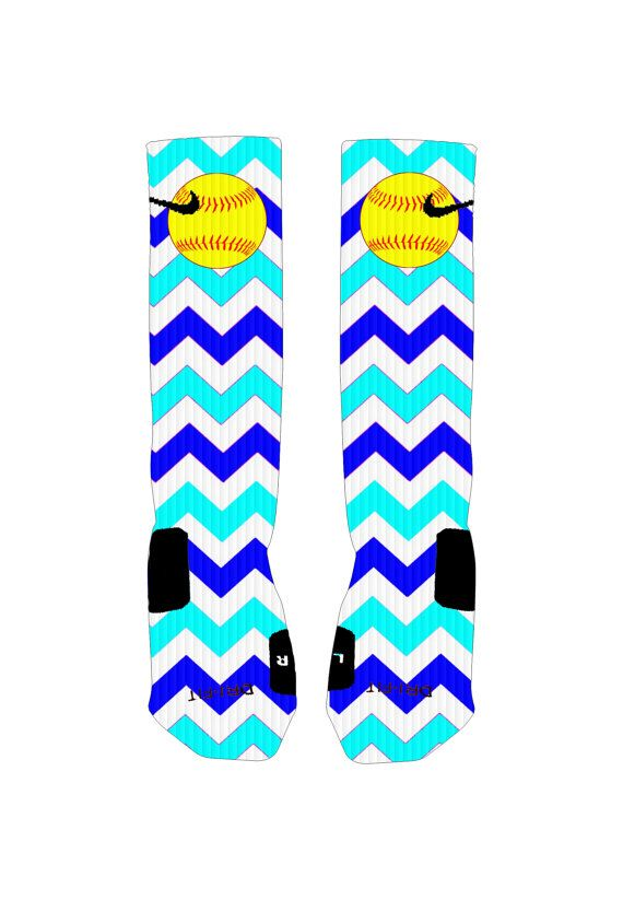 Custom Softball Socks Blue Chevron Stripe by ShopElevateGear
