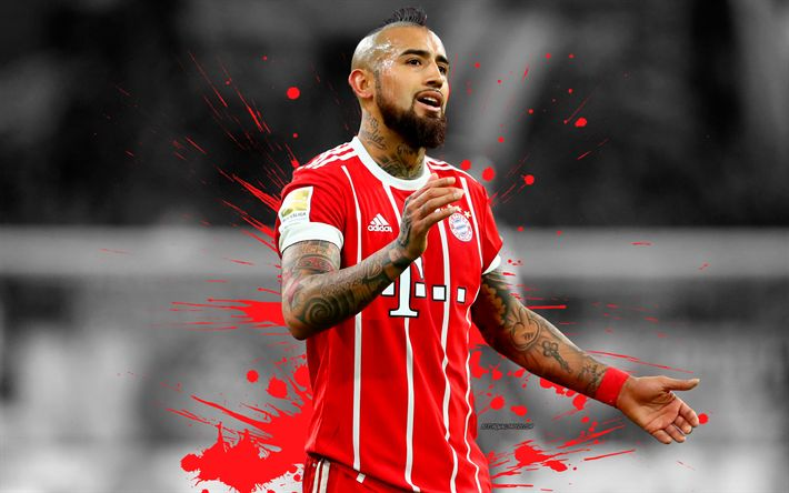 Download wallpapers Arturo Vidal, 4k, Bayern Munich, football, grunge, art, bright red splash, Chilean footballer, Germany, Bundesliga